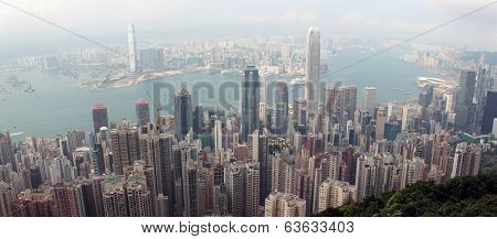 Panorama Of Hong Kong From Victoria Gap, Near The Top Of Victoria Peak