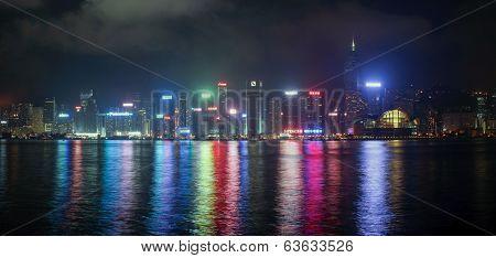 Panorama Of Hong Kong Island From Kowloon At Night Time