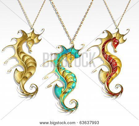 Three Gold Seahorse