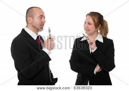 Business People With E-cigarettes