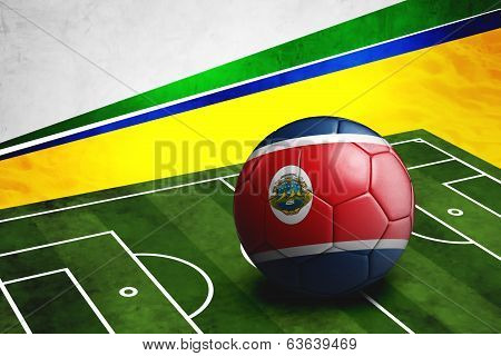Soccer Ball With Costa Rica Flag On Pitch