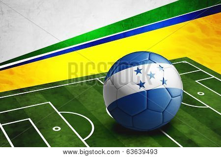 Soccer Ball With Honduras Flag On Pitch