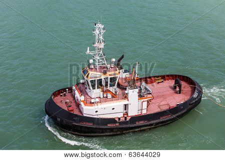 Black And Red Tugboat