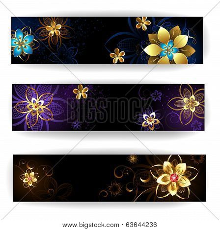 Banner with abstract flowers