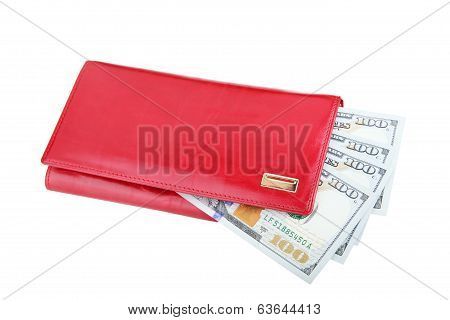 Woman Red Purse With Dollars