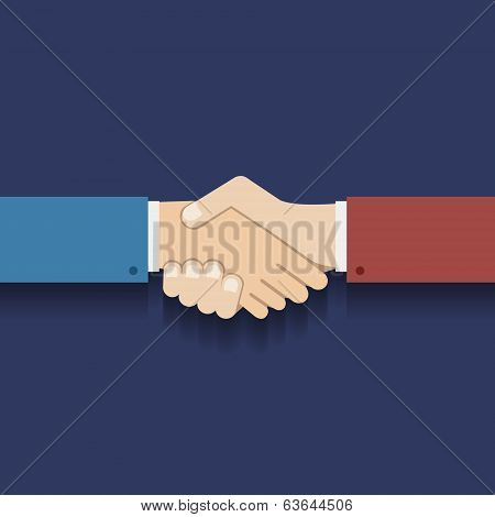 Flat Design Partnership Symbol Businessman Handshake Vector Illustration