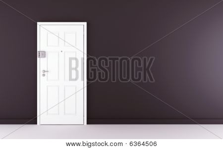 Blank Wall With White Door