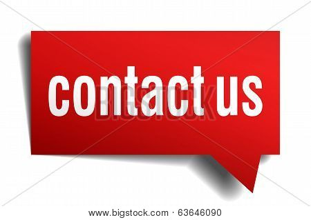 Contact Us Red 3D Realistic Paper Speech Bubble Isolated On White