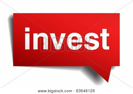 Invest Red 3D Realistic Paper Speech Bubble Isolated On White