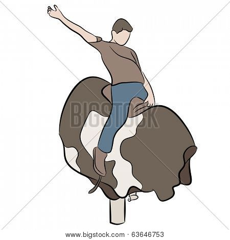 An image of a man riding a mechanical bull.