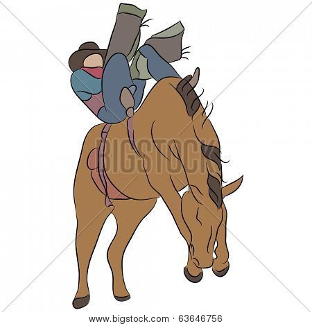 An image of a cowboy riding a bucking bronco horse.