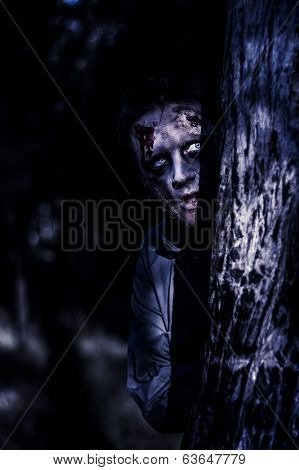 Dark Evil Zombie Watching From Horror Forest