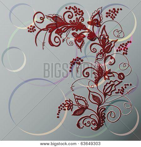 Decorative Ornament Against Circles.