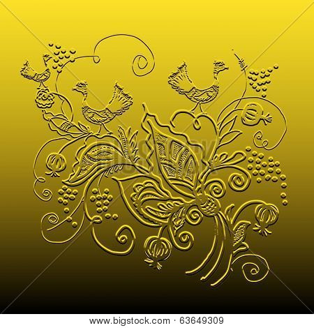 Decorative Ornament On A Gold Background.