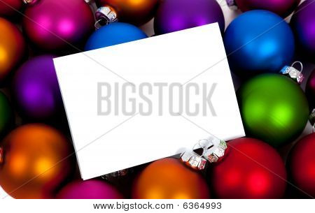 Christmas Balls/bauble With A Notecard On White