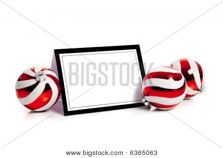 Christmas Balls/bauble On White With A Blank Notecard