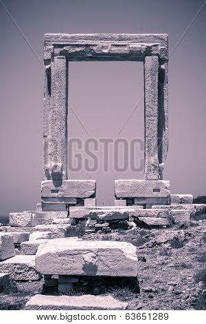 Vintage Shoot Of Apollo Temple, Landmark Of Naxos, Greece