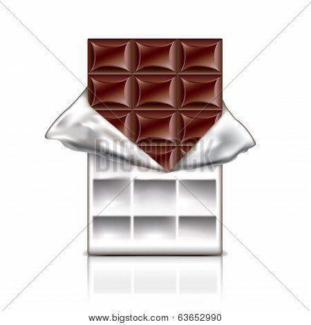 Chocolate Bar In Foil Vector Illustration