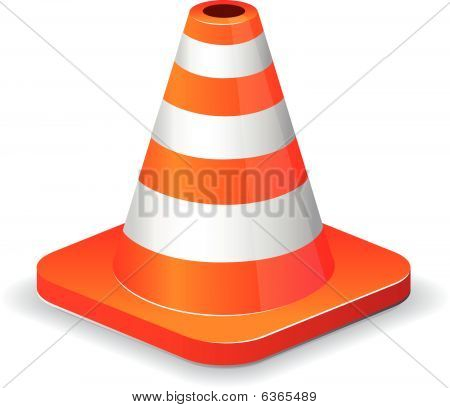 Glossy traffic cone icon