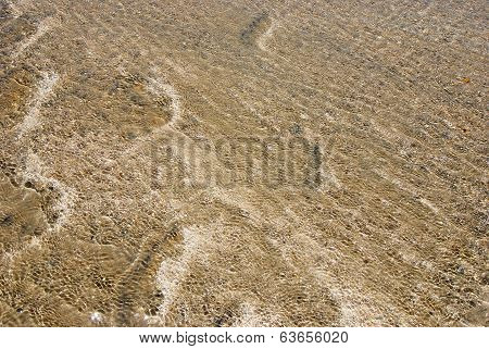 A sunny beach with footsteps in the sand below the water.