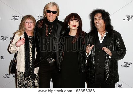 NEW YORK-APR 17: (L-R) Rose Smith, Neal Smith, Sheryl Goddard and Alice Cooper attend the 'Super Duper Alice Cooper' premiere at Chelsea Bow Tie Cinemas on April 17, 2014 in New York City.