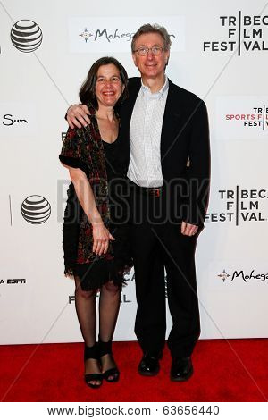 NEW YORK-APR 17: Author Harvey Araton (R) and wife attend the 'When the Garden Was Eden' premiere at the 2014 TriBeCa Film Festival at the BMCC Tribeca PAC on April 17, 2014 in New York City.