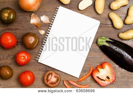 White Pad With Text Space And Vegetable