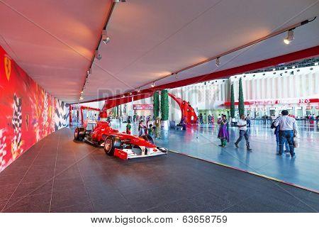 ABU DHABI, UAE - MARCH 27: Ferrari World at Yas Island in Abu Dhabi on March 27, 2014, UAE. Ferrari World is the largest indoor amusement park in the world.