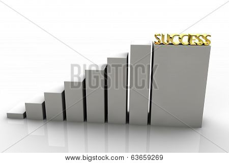 3D Chart With Gold Success In The Last Step