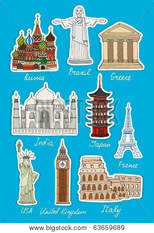 Set of vector travel landmarks icons
