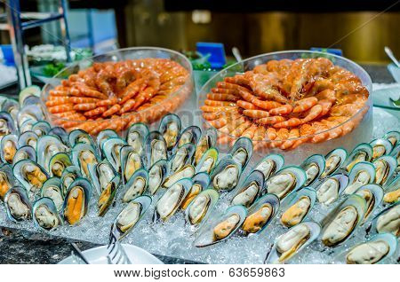 Seafood Buffet Line (prawns And New Zealand Green Mussel)