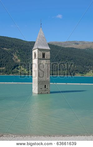 sunken Church in Reschensee,Italy