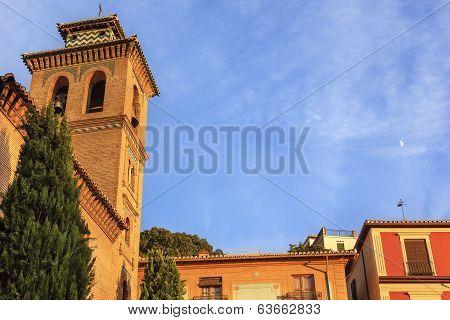 Church Iglesia Of Santa Anna Moon Rio Darro Granada Andalusia Spain
