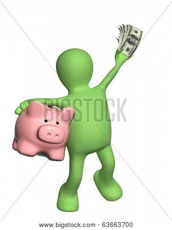 Happy puppet with piggy bank and banknotes of dollars. Isolated on white background