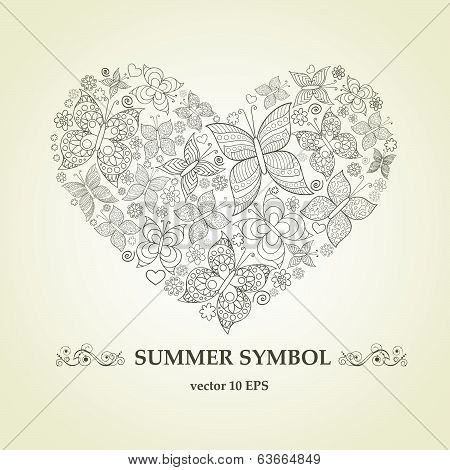 Vector stylized heart from butterflies and flowers