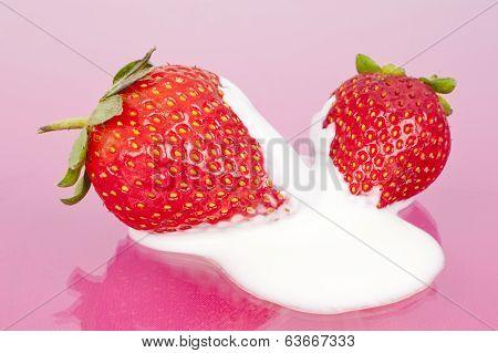 Two Strawberries In Yoghurt