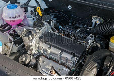 New Engine Of The Modern Car Skoda Rapid Closeup