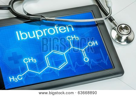 Tablet with the chemical formula of ibuprofen