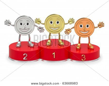 Cartoon Medals On Red Podium