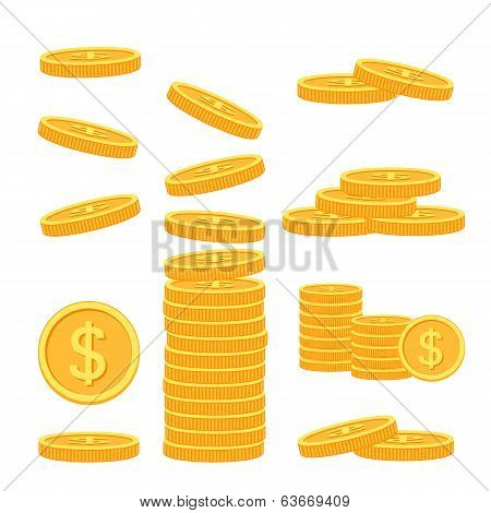 Set of flat coins