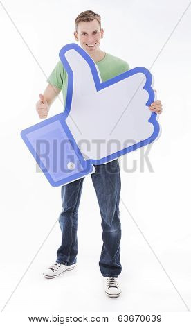 Man holding Facebook like thumb