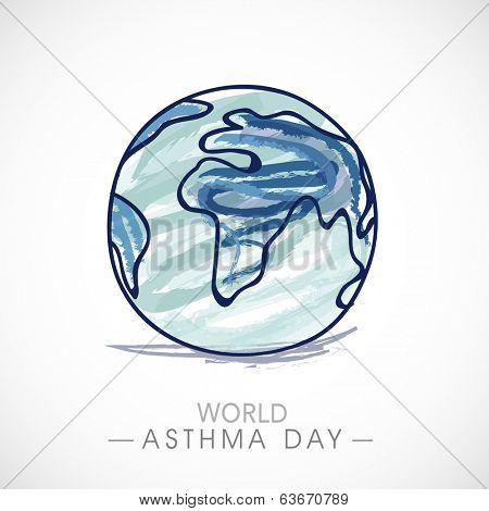 World Asthma Day concept with globe on grey background.