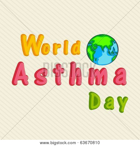 World Asthma Day concept with colorful text and globe on abstract background.