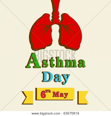 World Asthma Day concept with healthy human lungs and colorful text on abstract background.