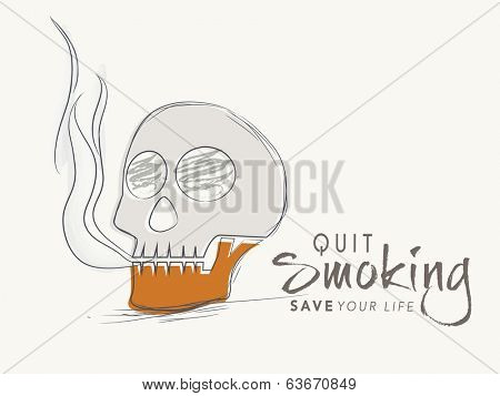 World Asthma Day concept with human skull and text quit smoking save your life on abstract background.