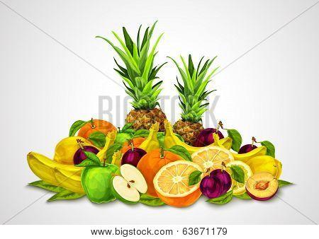 Tropical Fruits Set Still Life