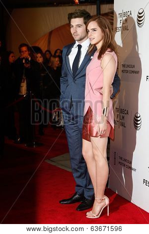 NEW YORK-APR 20: Actors Roberto Aguire and Emma Watson (R) attend the