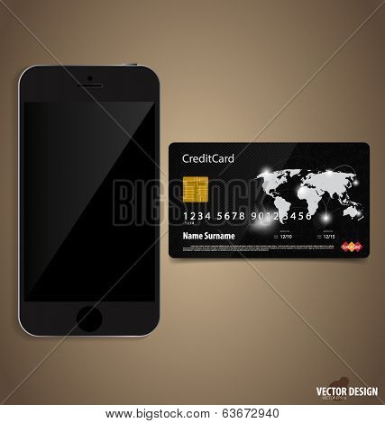 Touchscreen device with credit card. Vector illustration.