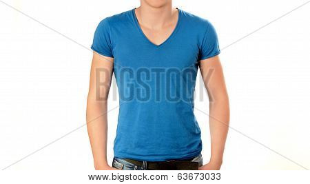 Unrecognizable man wearing blank blue v neck t-shirt.