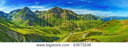 Pyrenees mountains summer panorama.